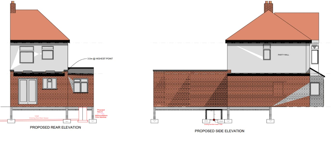 proposed elevation requiring a build-over drainage survey